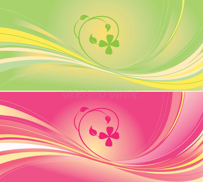 Green and pink backgrounds vector illustration