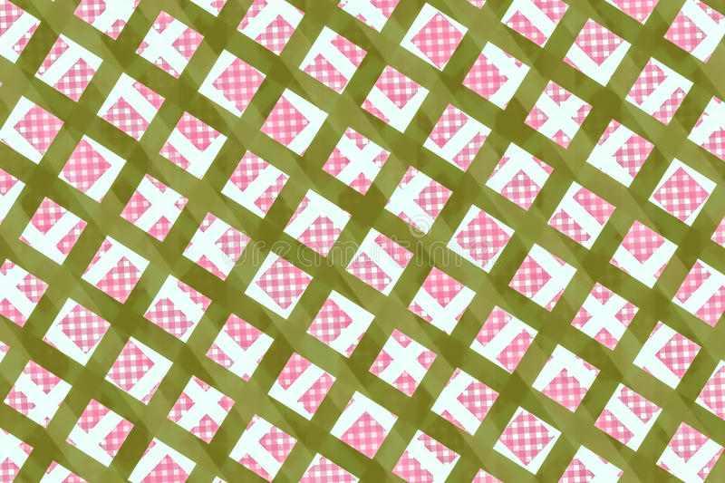 Green, Pink Computer Generated Abstract Geometric Pattern. As texture and background stock illustration