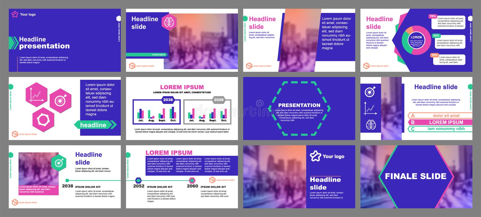 Green and pink elements for infographics on a blue background. Presentation templates. Hexagon element. Use in flyer. Green and pink elements for infographics on royalty free illustration