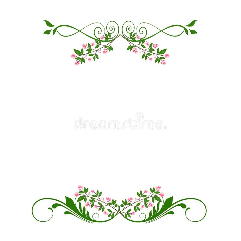 Green pink floral swirls dividers. A white background with big green and pink floral swirls patterns royalty free illustration