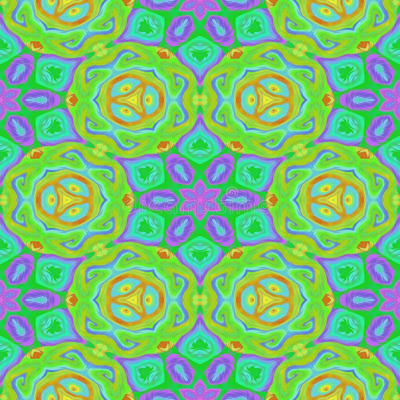 Green pink floral symmetrical pattern royalty free stock photography