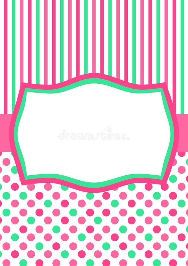 Green Pink Polka Dots greeting card. Greeting card with green and pink polka dots and stripes background royalty free illustration