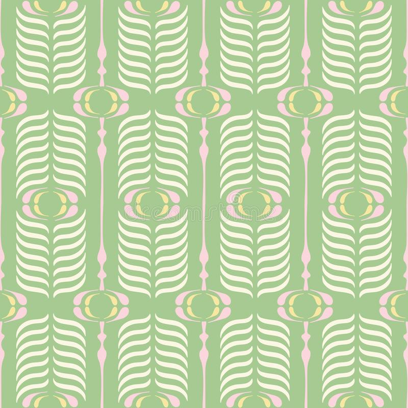 Green and Pink Retro Ogee Background Vector Seamless Pattern. Modern Classic Geometric pattern. Cream Feathers Print royalty free illustration