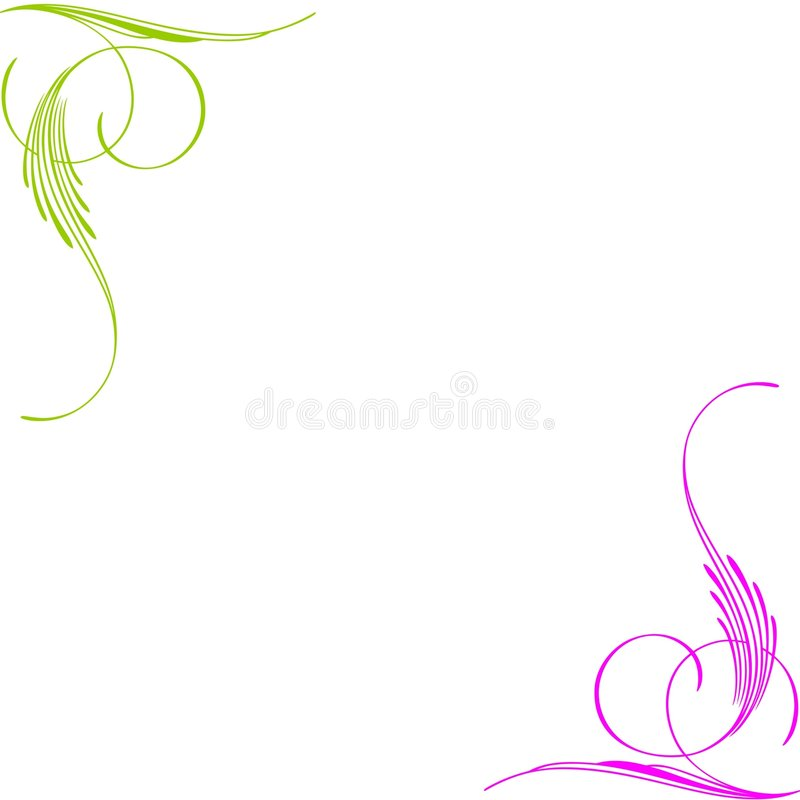 Green pink swirls corners royalty free stock photography
