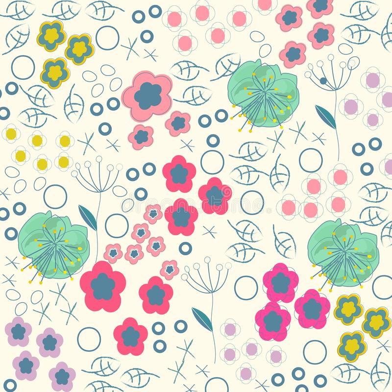 Summer flowers abstract artistic pattern background vector illustration