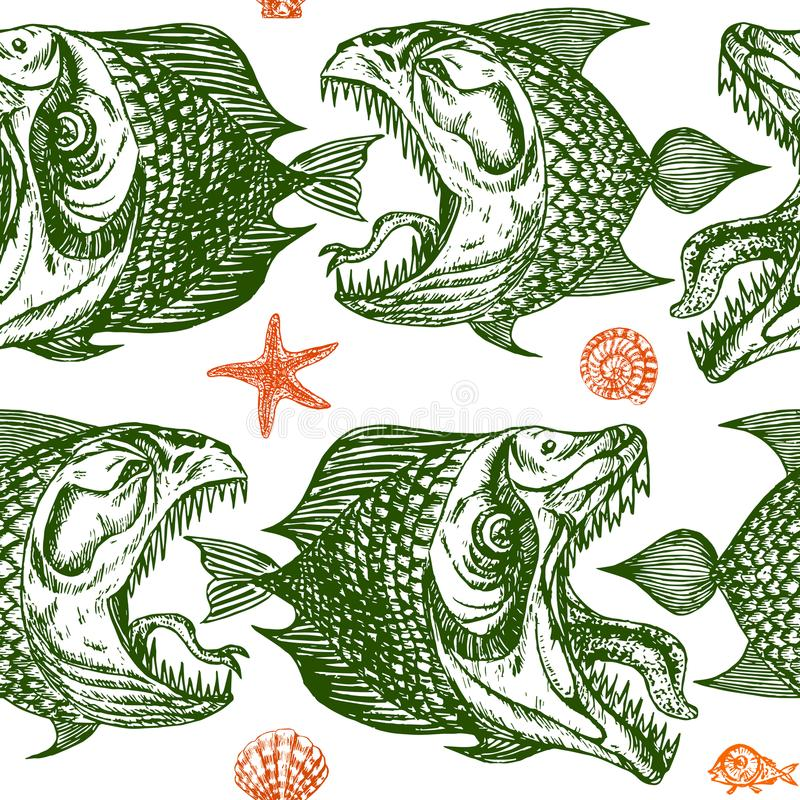 Green piranhas fishes profile, open mouth with sharp teeth and long toung. Seamless pattern design, hand drawn doodle, sketch in pop art style on white royalty free illustration