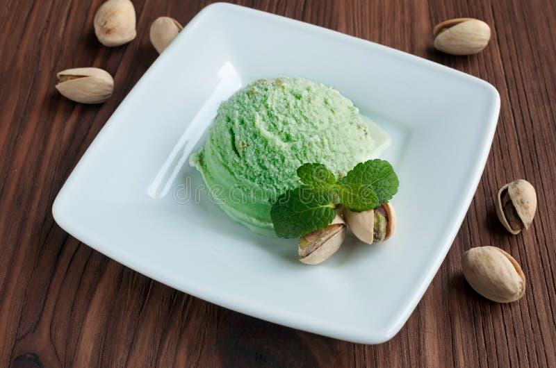 Green pistachio ice cream royalty free stock image