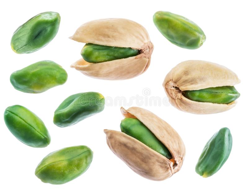 Green pistachio nuts isolated on white. royalty free stock images
