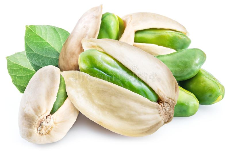 Green pistachio nuts with pistachio shell. stock image