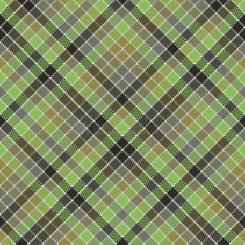 Green pixel mosaic plaid seamless pattern stock illustration