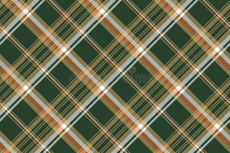Green pixel plaid fabric seamless pattern vector illustration