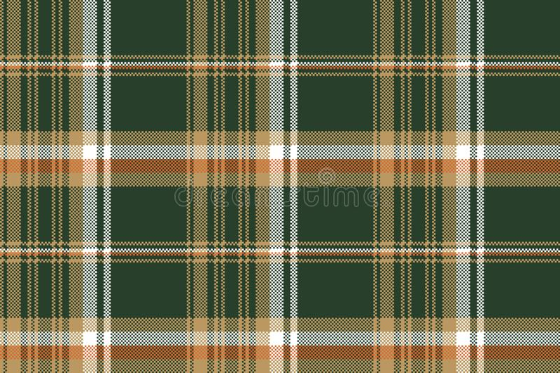 Green pixel plaid fabric seamless pattern royalty free illustration