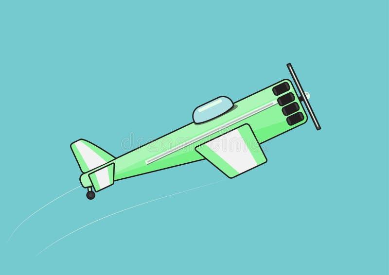 A green plane flies higher stock illustration