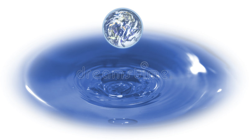 Green-planet. An image of a planet emanating from water that can represent the environmental-industry, biblical-creation, mother-nature, or global-business royalty free stock photo