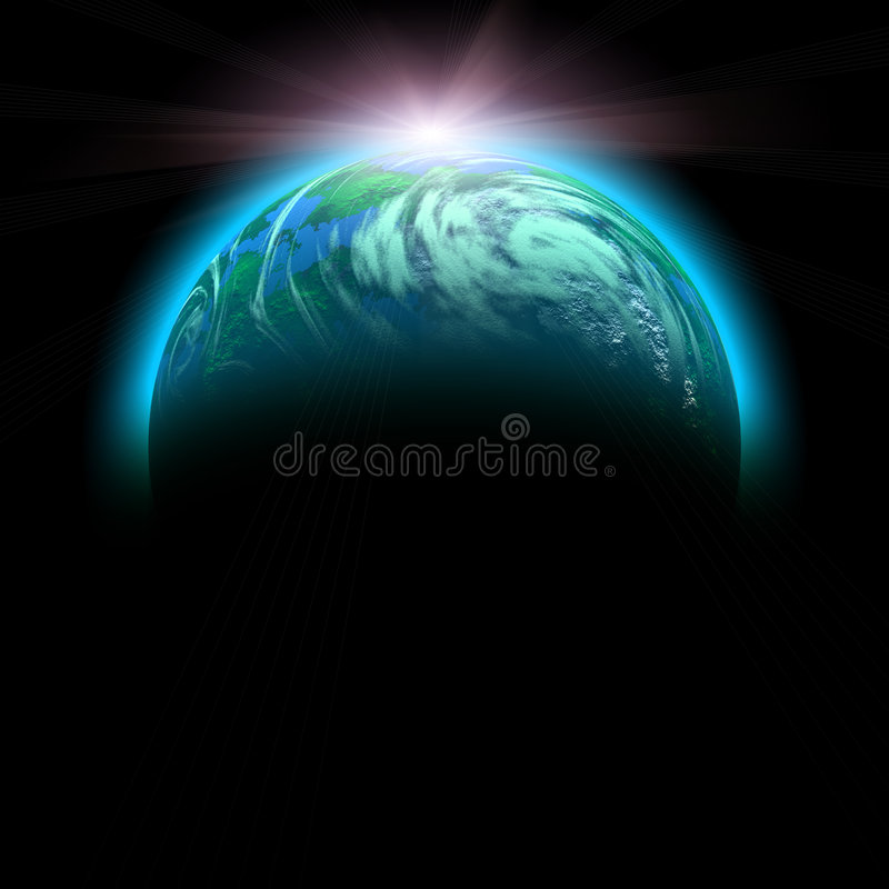 Free Green Planet And Rise Sun Royalty Free Stock Images - 5815999