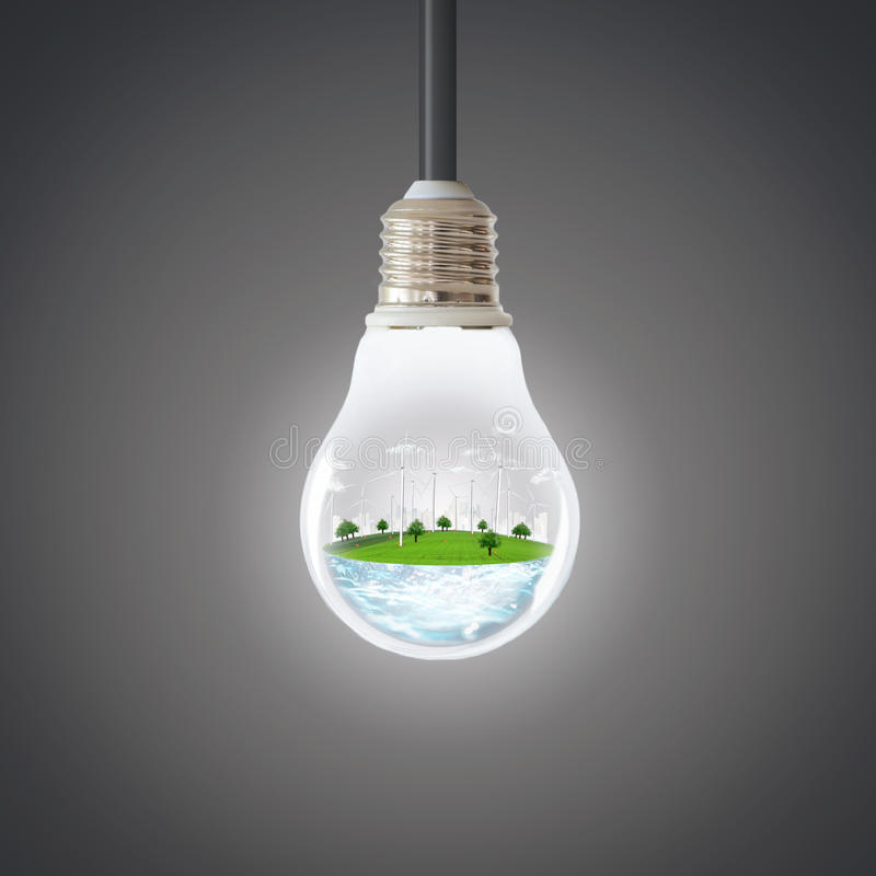 Green planet concept. Wind Turbine Clean Nature Ecology Environment. stock photo