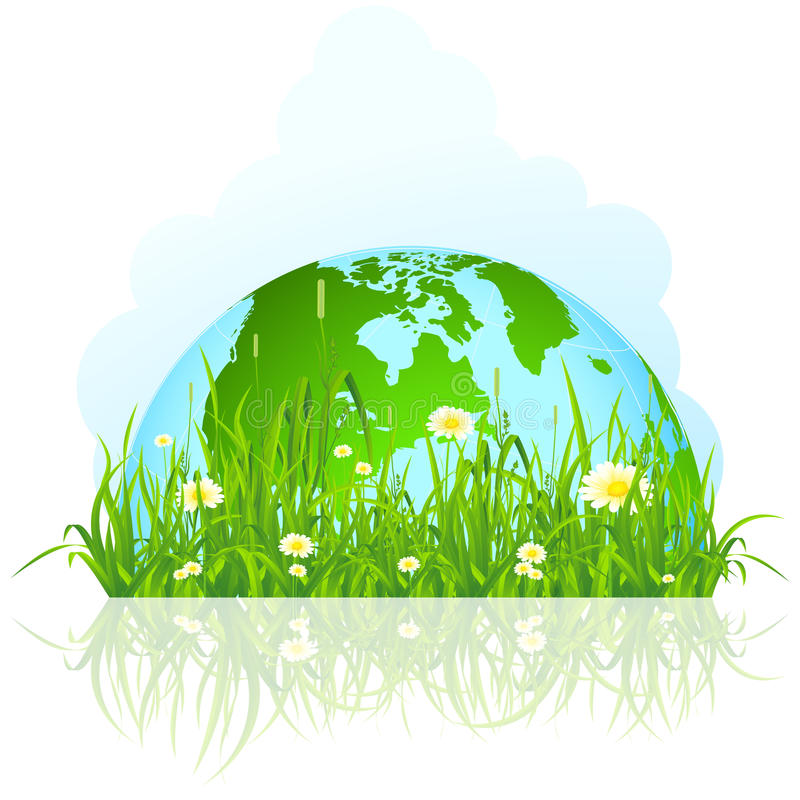 Green planet in the grass royalty free illustration