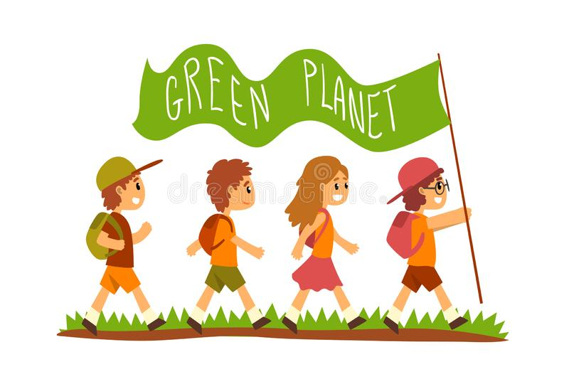 Green Planet and kids, save the planet, ecology concept vector Illustration on a white background. Green Planet and kids, save the planet, ecology concept vector stock illustration