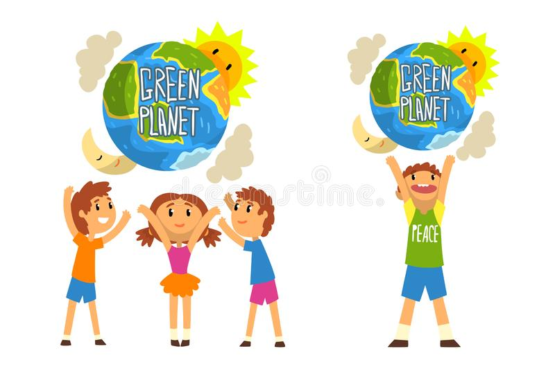Green Planet and kids, save the planet, ecology concept vector Illustration on a white background. Green Planet and kids, save the planet, ecology concept vector vector illustration