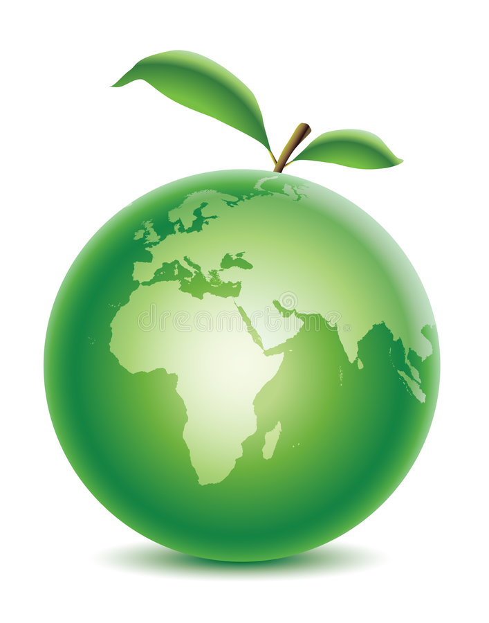 Green planet with leaf stock image