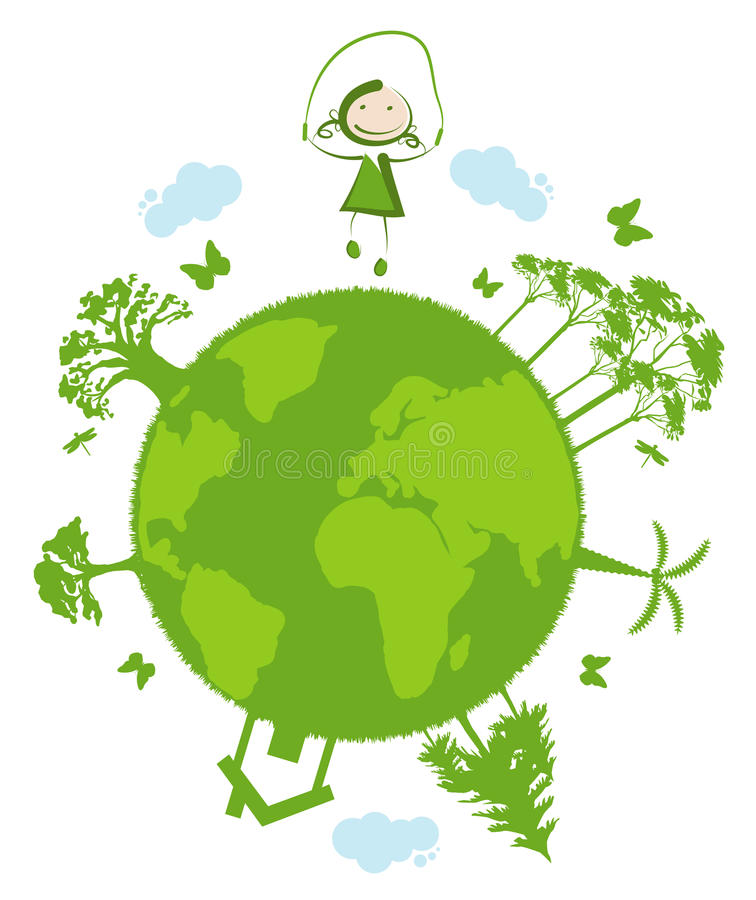 Green planet. Little girl jumping rope on green planet vector illustration