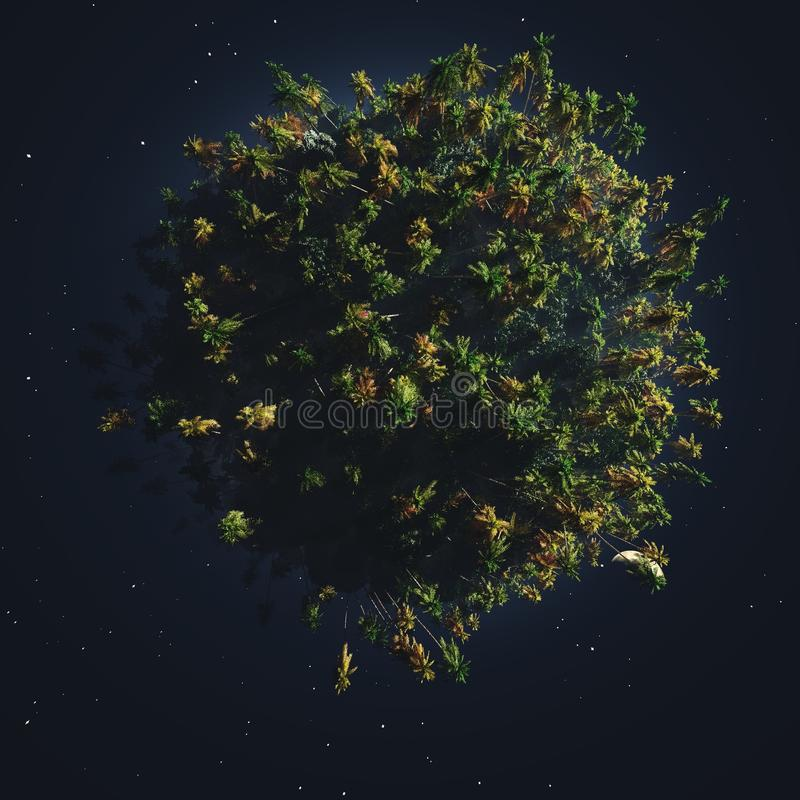 Green planet in outer space. Ecology of the planet stock illustration