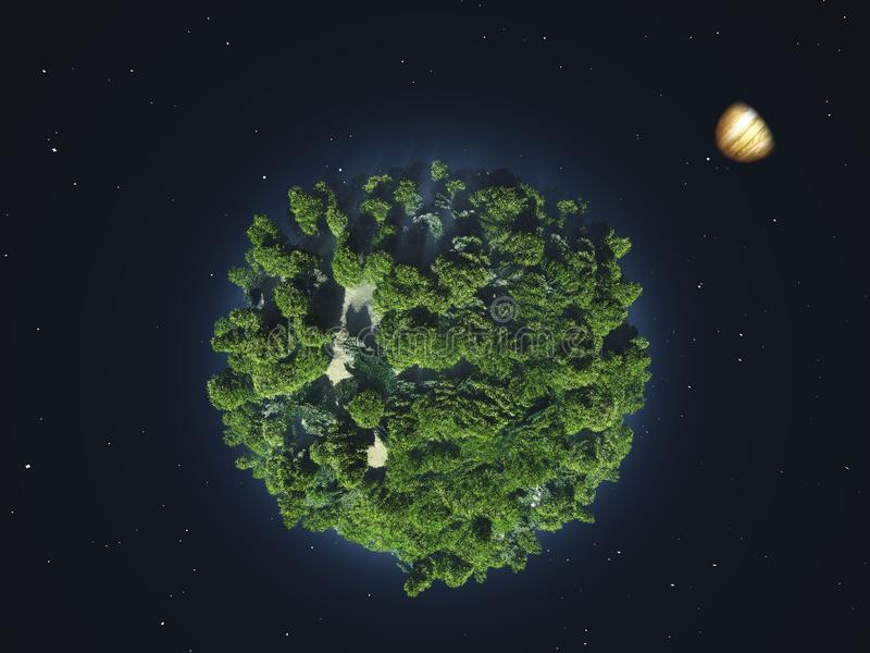 Green planet in outer space vector illustration