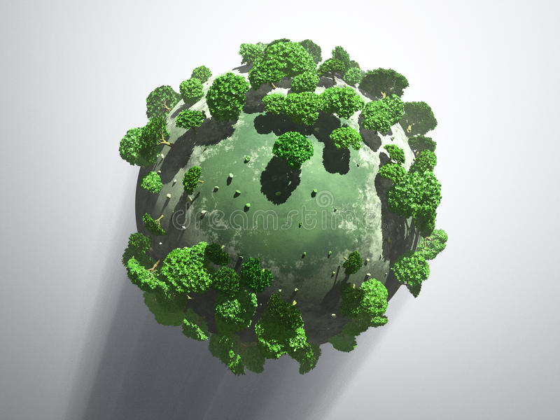 Download Green planet with shadow stock illustration. Image of color - 14769538