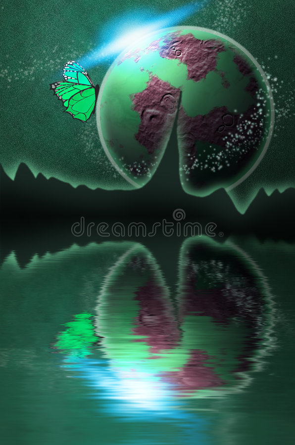Download Green Planet In Space With Sun And Butterfly Stock Illustration - Image: 4459802