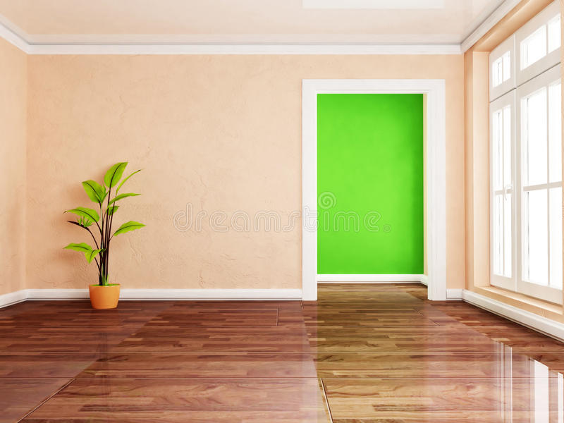 A green plant in the empty room vector illustration