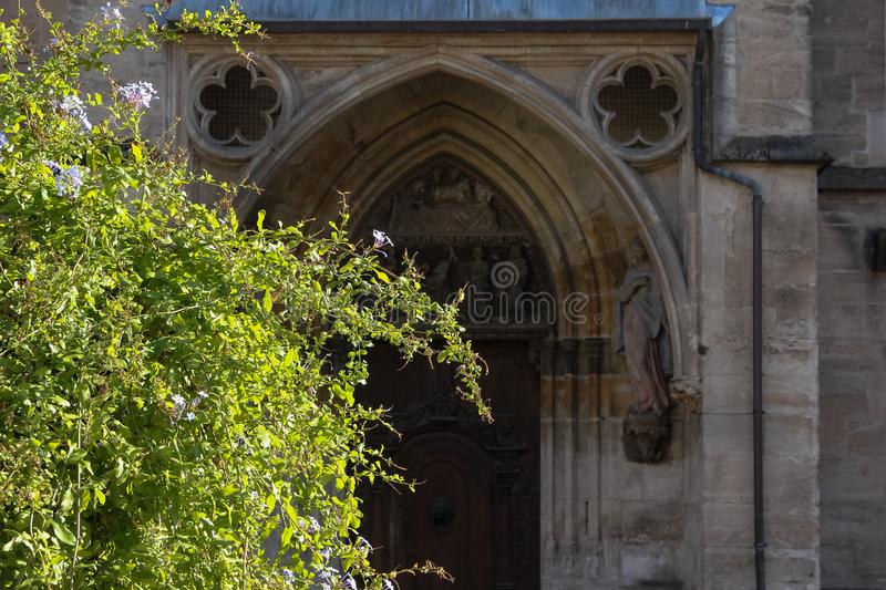 Green plant before historical church facade. In autumn south germany afternoone royalty free stock photo