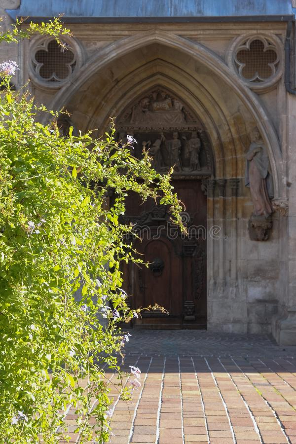 Green plant before historical church facade. In autumn south germany afternoone stock photo