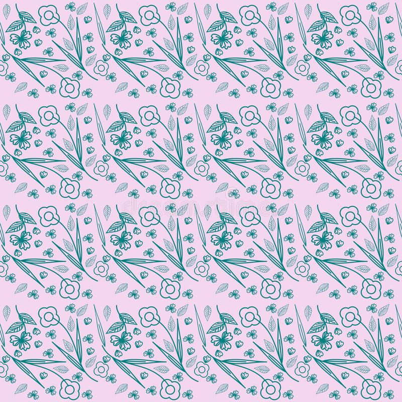 Green plant leave and flowers on pattern. Background stock illustration
