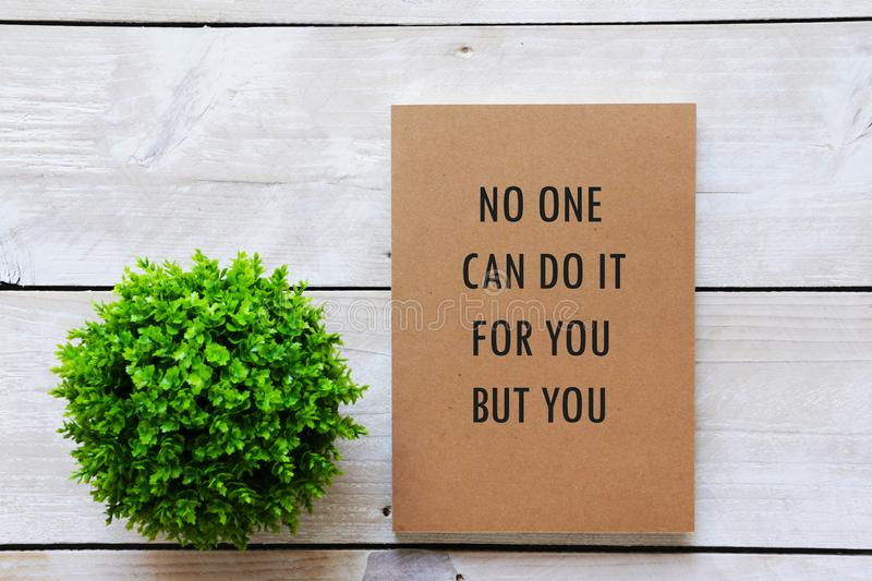 Green plant and notebook with text written ` No one can do it for you but you`. Flat lay Green plant and notebook with text written ` No one can do it for you stock photography