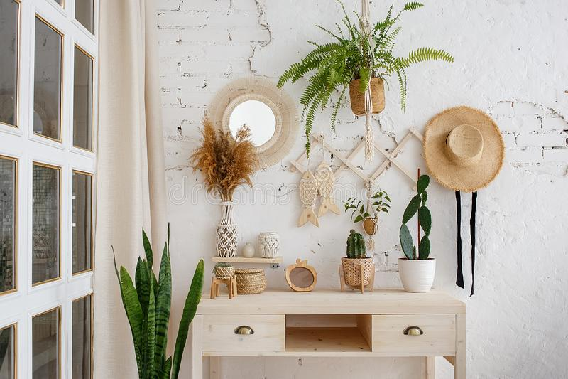 Green plants, dried flowers and cactuses on a table in rustic style. Cozy loft interior with white brick wall royalty free stock image
