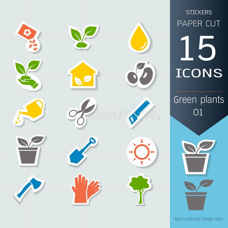 Green plants and sprout growing infographic icons set, Vector Illustrations stickers and paper cut style. Easy to editable and change, Separate background vector illustration