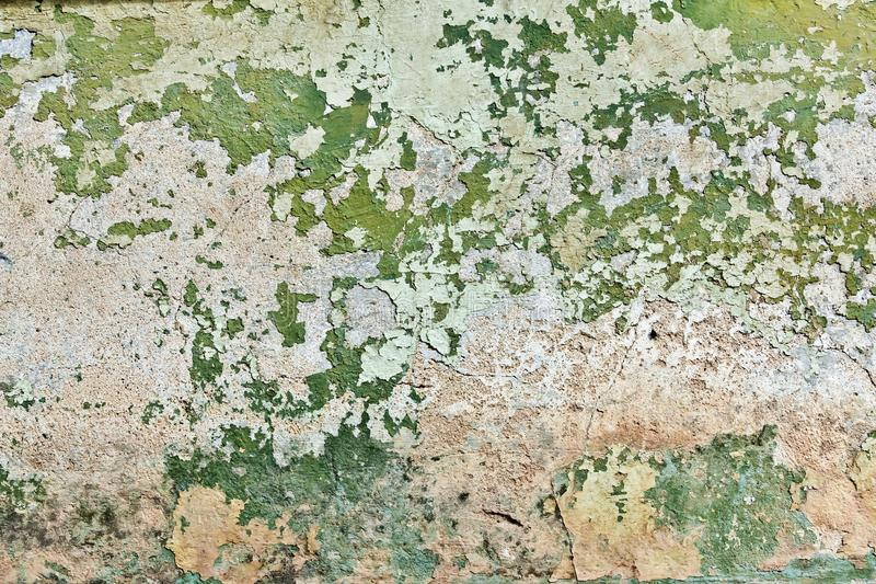Green plaster wall. Stucco surface background. Grunge scratched concrete panel stock photo