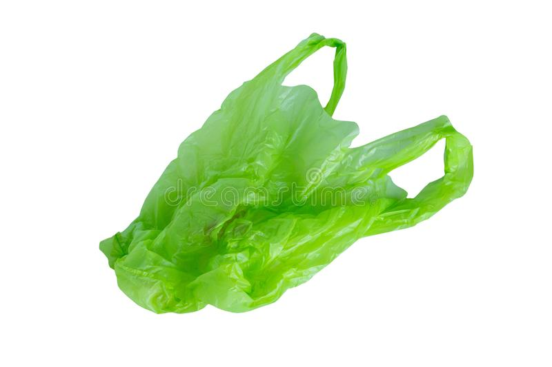 Green plastic bag isolated on white background. With clipping path stock photos