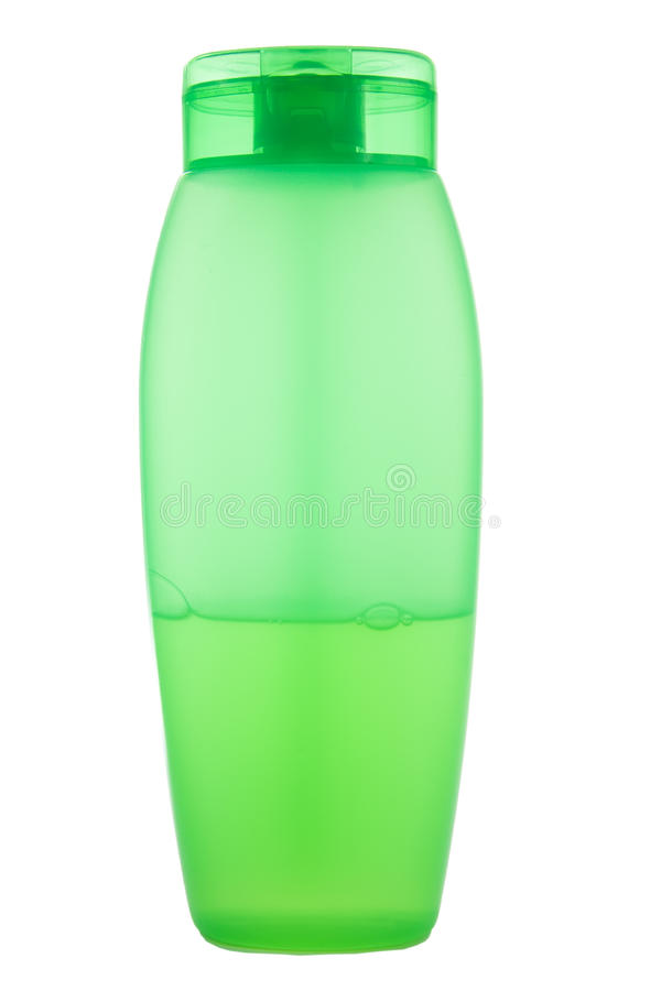 Green plastic bottle. Green plastic translucent bottle with liquid isolated royalty free stock photos