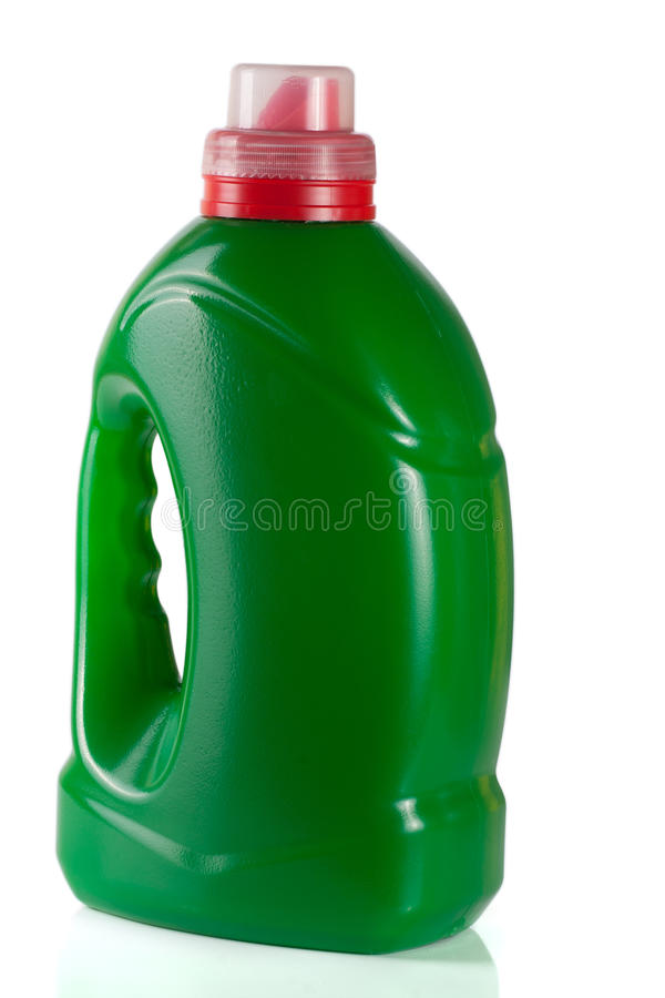 Green plastic bottle isolated on white background for liquid laundry detergent or cleaning agent or fabric softener royalty free stock photography