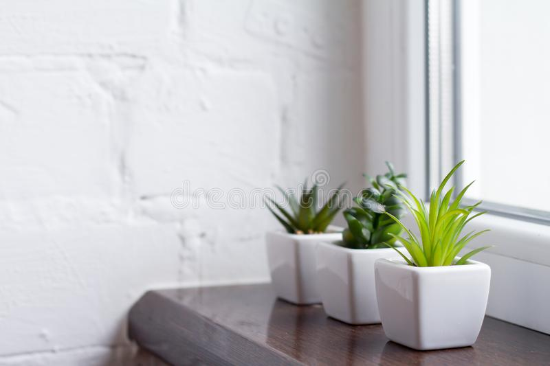 The green plastic cactus is in a white pots. On a brown window sill against a white brick wall royalty free stock photos