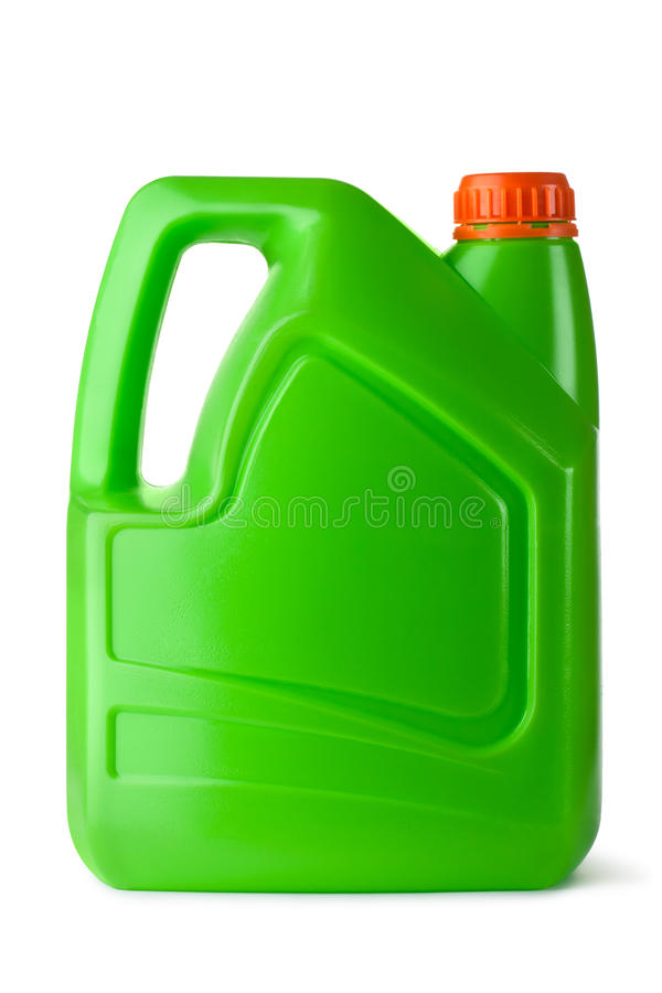 Green plastic canister for household chemicals stock photo
