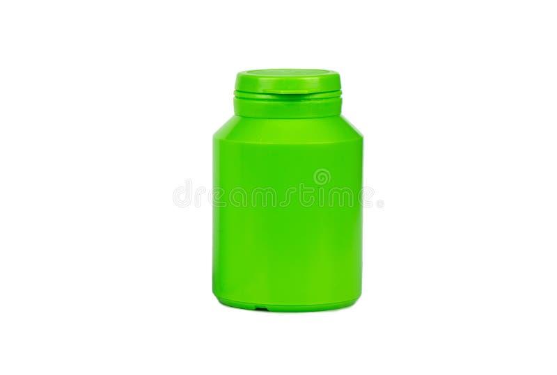 Green plastic jar stock image