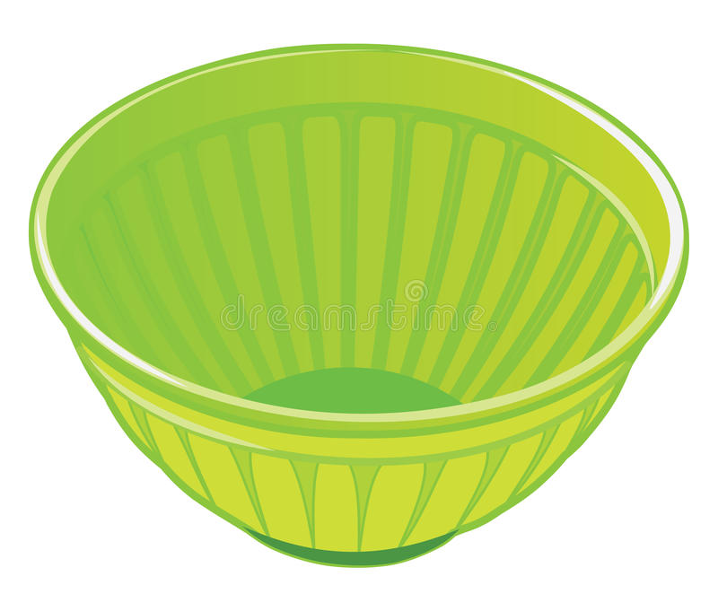 Green plastic salad bowl. On white background vector illustration vector illustration