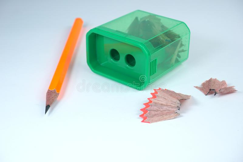 Sharpener and sharp pencil on white background stock photos