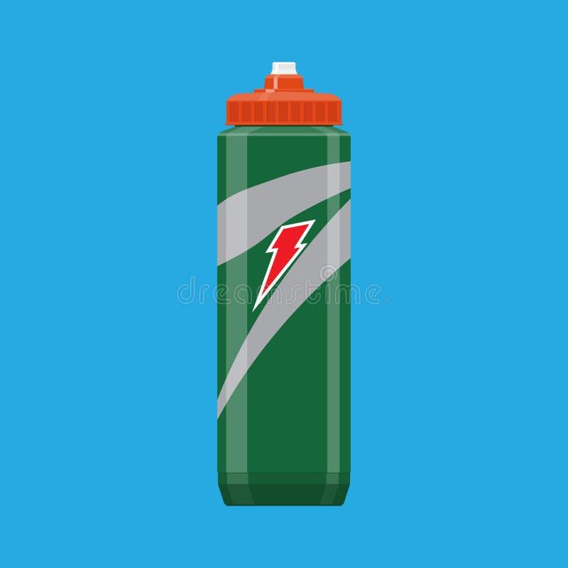 Green plastic sports bottle hydro flask water stock illustration