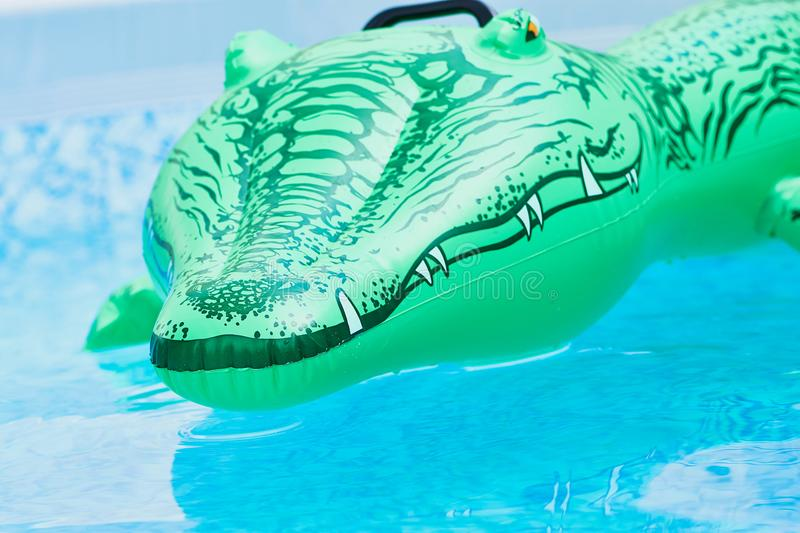 Green plastic toy crocodile in the water royalty free stock photos