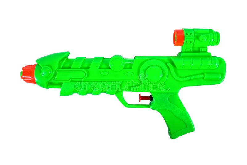 Green plastic water gun isolated on white background. Texture royalty free stock photos