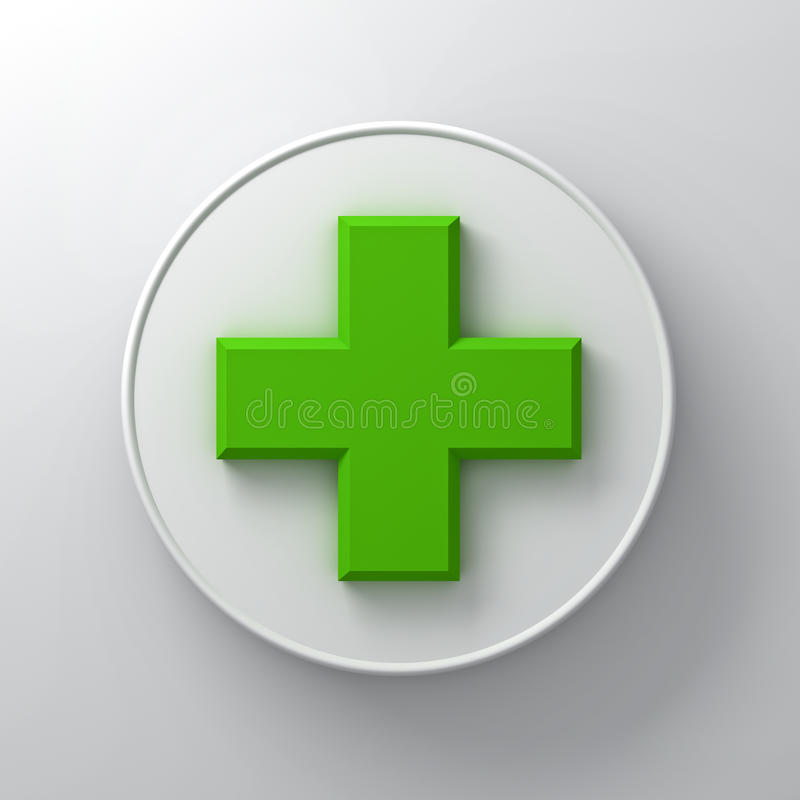 Green plus sign abstract on round signboard over white wall background with shadow. 3D rendering vector illustration