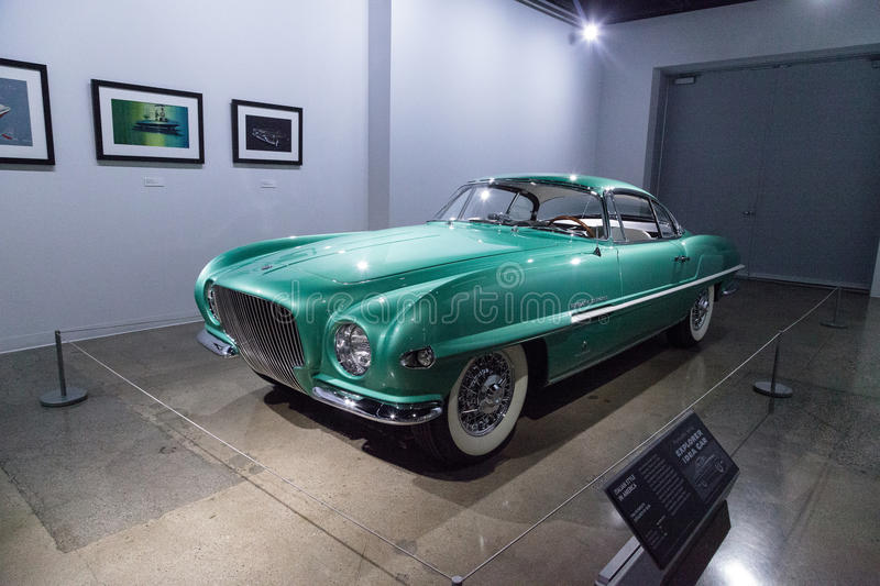 Green 1954 Plymouth Explorer by Ghia. Los Angeles, CA, USA — March 4, 2017: Green 1954 Plymouth Explorer by Ghia at the Petersen Automotive Museum in Los royalty free stock photo